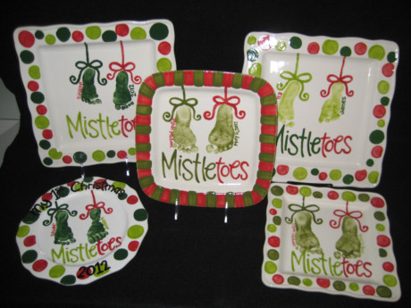 Mistletoes painted by WHIMSY heARTS by kristen. Custom pottery painted just for you!